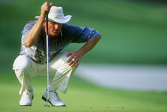 Greg Norman at the 1994 Players Championship. Despite winning the event, Norman is still disappointed he didn't have a bogey-free tournament.