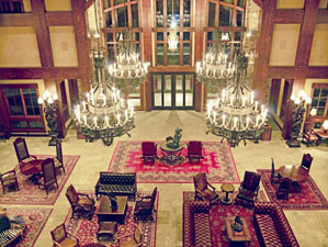 Mountain chic: The lobby in Yellowstone's tony ski lodge.