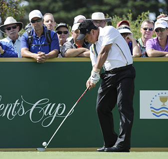 Three South Korean players are on this year's Presidents Cup team: K.J. Choi (pictured), K. T. Kim and 2009 PGA Champion Y.E. Yang.