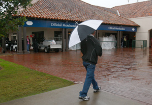 Heavy rain suspended play for six hours on Friday.