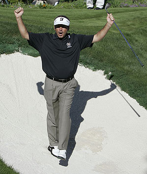 Couples sunk a bunker shot on the fourth hole for eagle.