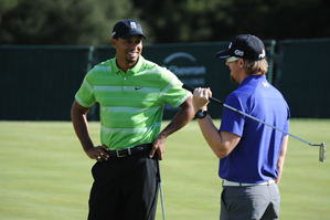 Tiger Woods, left, chatted with Hunter Mahan Tuesday at Sherwood Country Club.