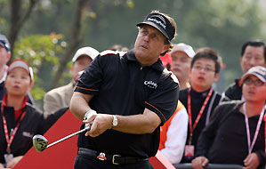 Phil Mickelson, playing his second straight event in Asia and his first in China, shot 68 in the first round.