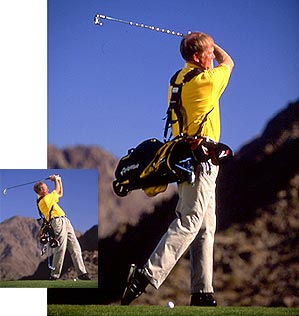 The sound of your clubs falling to the ground will tell you if you've hung back through impact. If you can finish with your bag in place, your swing is set.