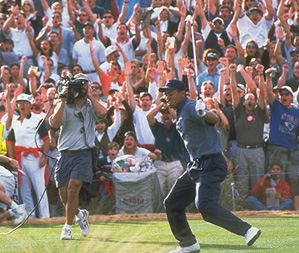 In 1997, a year after he earned his PGA Tour card, Woods electrified the rowdy Phoenix Open crowd with a hole-in-one at the 16th hole at TPC Scottsdale.