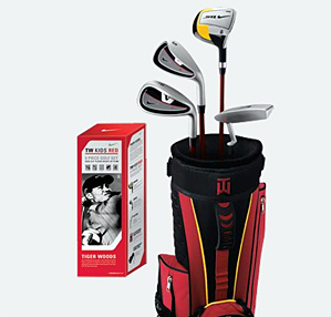 Nike's junior set includes golf balls, a bag and four clubs.