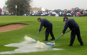 The grounds crew was busy cleaning up the course on Friday.