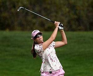 Paula Creamer shot a four-under 68 to finish one stroke behind leader Ji-Yai Shin.