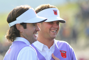 Jeff Overton, right, and Bubba Watson won their match 3 and 2.