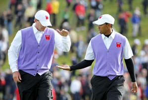 Tiger Woods with Steve Stricker at the Ryder Cup.