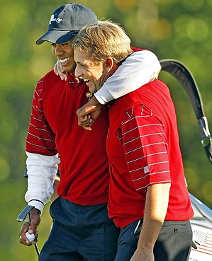 Woods and Toms                 steamrolled Geoff Ogilvy and Nick                 O'Hern 5 and 3 in Saturday four-ball.