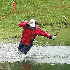 "Woody Austin provided one of the most memorable moments of the 2007 Presidents Cup when he <a href=""http://www.golf.com/golf/gallery/article/0,28242,1666793,00.html"">fell face first into the water after trying to play his ball out of the hazard</a>."
