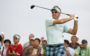 Ian Poulter was four over through six holes before play was suspended.