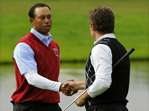 Tiger Woods and Steve Stricker lost to Lee Westwood and Luke Donald 6 and 5.