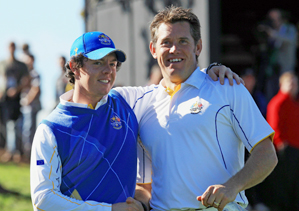 Lee Westwood, right, and Rory McIlroy helped carry the Europeans to victory.