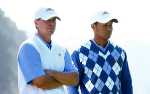 Steve Stricker and Tiger Woods play Geoff Ogilvy and Ryo Ishikawa on Thursday.