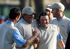 Tim Clark made an eagle on 18 to secure a point for the International team.
