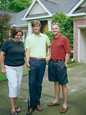 With measured encouragement from his parents, Chris Kirk, center, has soared.