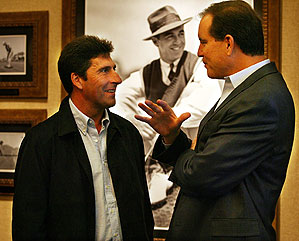 Olazabal, left, spoke with Jim Nantz before the ceremony Monday.