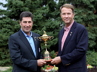2012 European Ryder Cup captain Jose Maria Olazabal (left, pictured with U.S. captain Davis Love III) will announce Europe's team on August 27.