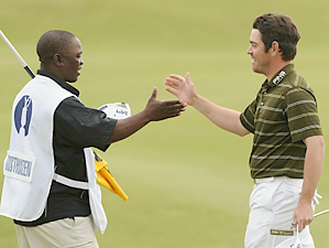 UNITED WAY: Rasego expected a handshake but got a hearty hug after the 54th-ranked Oosthuizen stunned the golfing world.