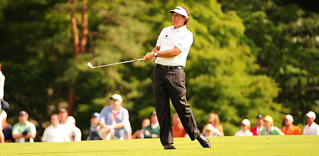 Phil Mickelson shot a two-over 72 in the second round at Merion.