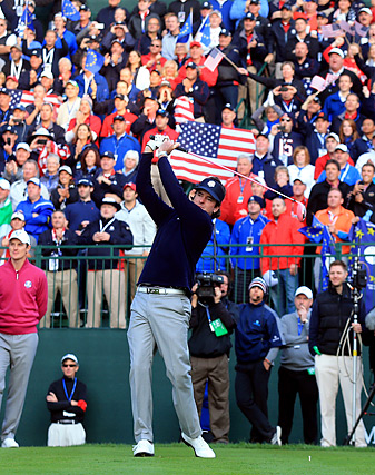 Bubba Watson whipped the crowd into a frenzy before hitting his opening tee shot on Saturday.