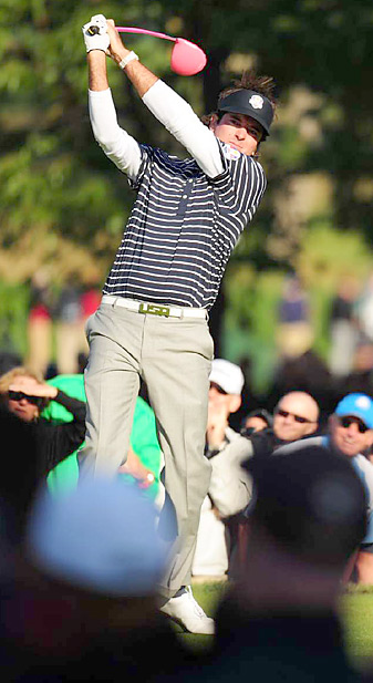 Bubba Watson teamed with Webb Simpson and routed Justin Rose and Francesco Molinari 5 and 4 Saturday afternoon.