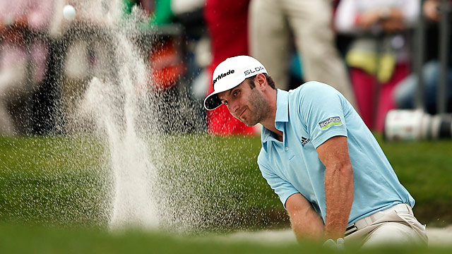 Dustin Johnson closed with a double bogey to take a three-shot lead into the final round at the HSBC Champions.