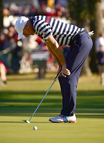 Jim Furyk was one of several Americans with a chance to win a singles match, but came up short over the final holes.