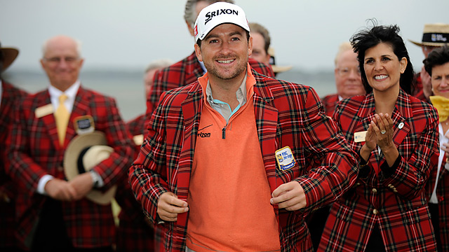 Before slipping into the winner's tartan jacket, Graeme McDowell slipped away for a quiet session at the practice range.