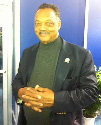 Jesse Jackson, in the media center at Medinah.