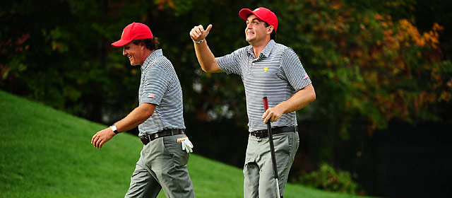 Phil Mickelson and Keegan Bradley teamed up to win 4 & 3 in their Day 2 match at the President Cup.