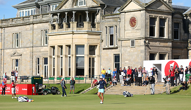 Stacy Lewis followed a birdie on 17 with another on 18 (pictured) to seal her first career British Open title.