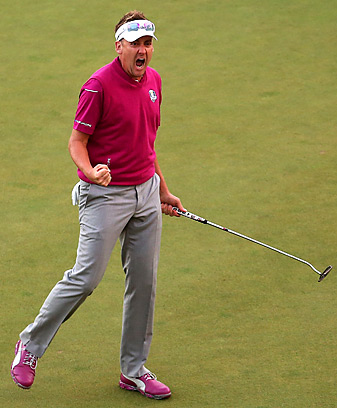 Ian Poulter made five straight birdies to win the final match on Saturday.