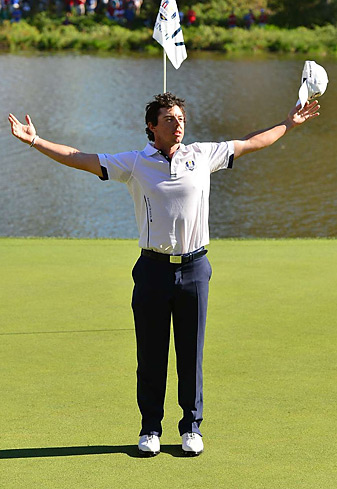 Rory McIlroy arrived just 10 minutes before his tee time, and went on to defeat Keegan Bradley 2 and 1 on Sunday.