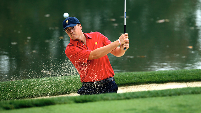 Jordan Spieth, who is playing in his first Presidents Cup, made an ace during his Wednesday practice round.
