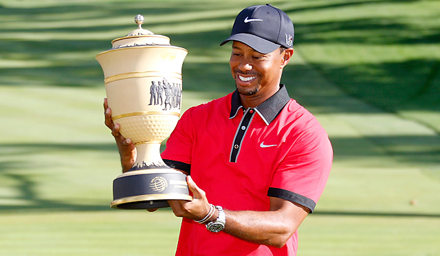 Tiger Woods made 16 pars on Sunday while coasting to a seven-shot victory at Firestone.