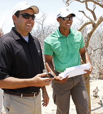 Woods with Diamante CEO Ken Jowdy on a recent visit to the site in Cabo San Lucas.