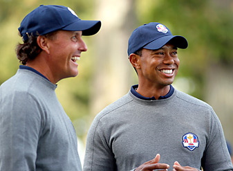 Phil Mickelson and Tiger Woods have losing Ryder Cup records, but have assumed leadership roles this week.