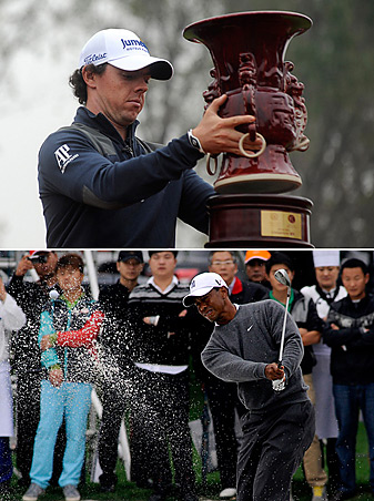 Rory McIlroy led from the opening hole, and went on to top Tiger Woods by one shot Monday in China.