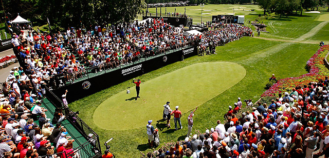 Tiger Woods was never threatened Sunday after teeing off on No. 1 (pictured) with a seven-shot lead.