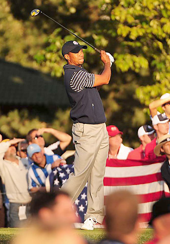 Tiger Woods and Steve Stricker lost 1 down to Sergio Garcia and Luke Donald on Saturday.