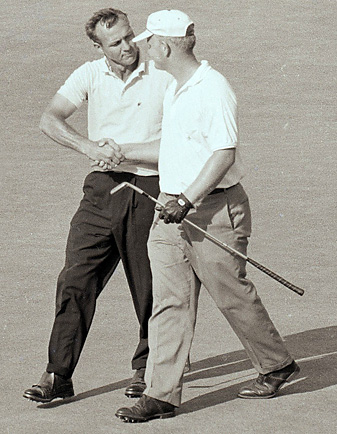 Palmer congratulated Nicklaus after the playoff in 1962.