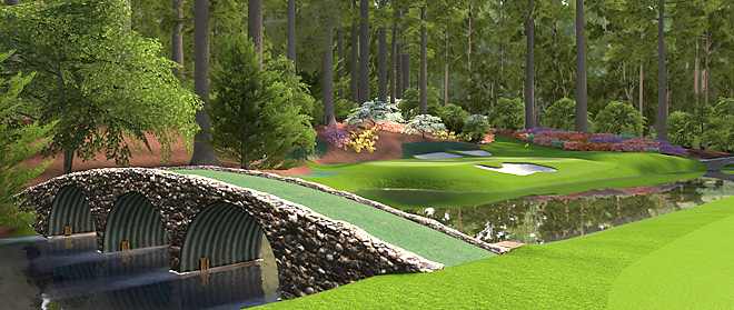 "A scene from Amen Corner on EA Sports's ""Tiger Woods PGA Tour '12."""
