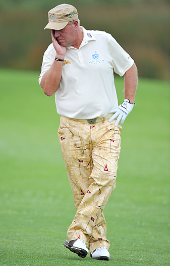 John Daly hit seven balls into the water on the 11th hole.