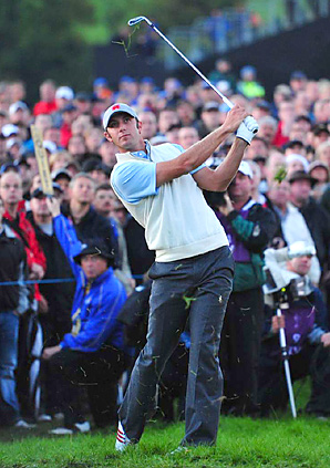 Dustin Johnson and Phil Mickelson are 1 down through 12 holes in their match against Lee Westwood and Martin Kaymer.