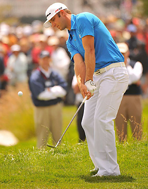 Dustin Johnson's Sunday nightmare at the 2010 U.S. Open began when he flubbed this chip on the second hole.
