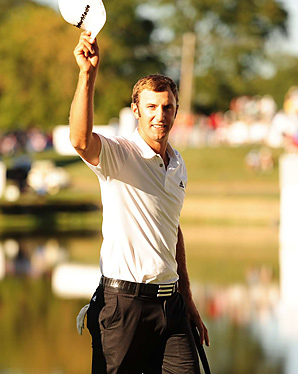 Dustin Johnson made up a three-shot deficit on the back nine on Sunday to earn his second win of the year.