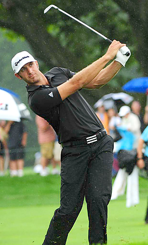 Dustin Johnson shot a final-round 65 to win the Barclays by two shots.